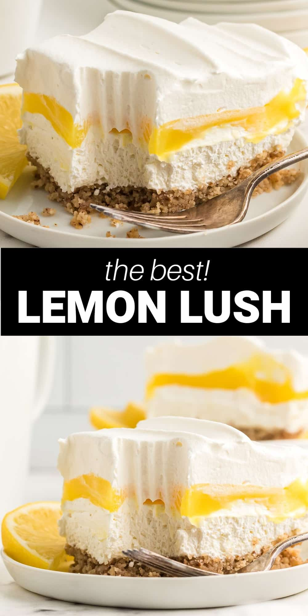 This Lemon Lush dessert is a refreshing and light lemon dessert that's perfect for spring and summer. It's an easy layered dessert with creamy layers of cheesecake using cream cheese, lemon pudding, and whipped cream on an amazing pecan crust!