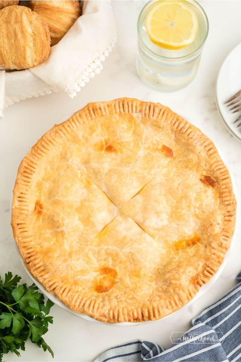 top chicken pot pie with golden crust