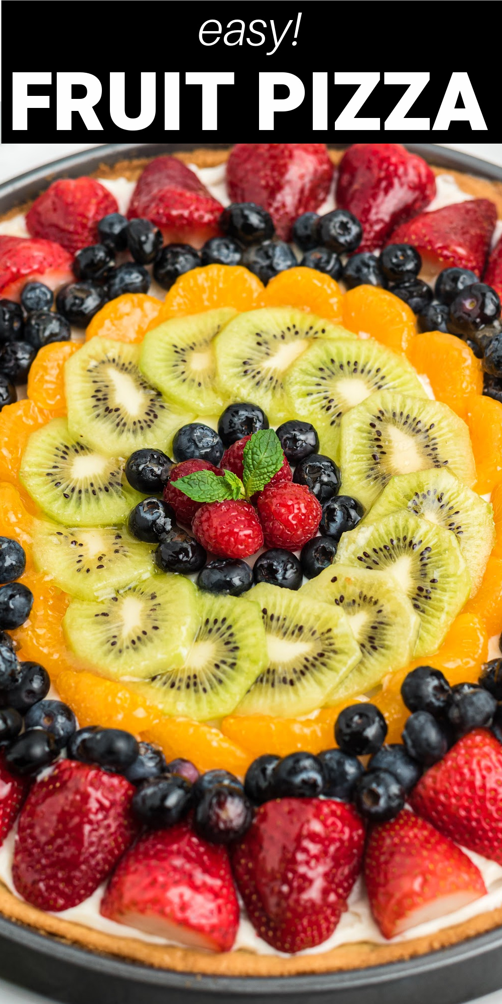 Fruit Pizza is covered bursting with colorful fresh fruit full of naturally sweet flavors on a sugar cookie crust. It has dreamy cream cheese frosting that make this fruit dessert absolutely irresistible.