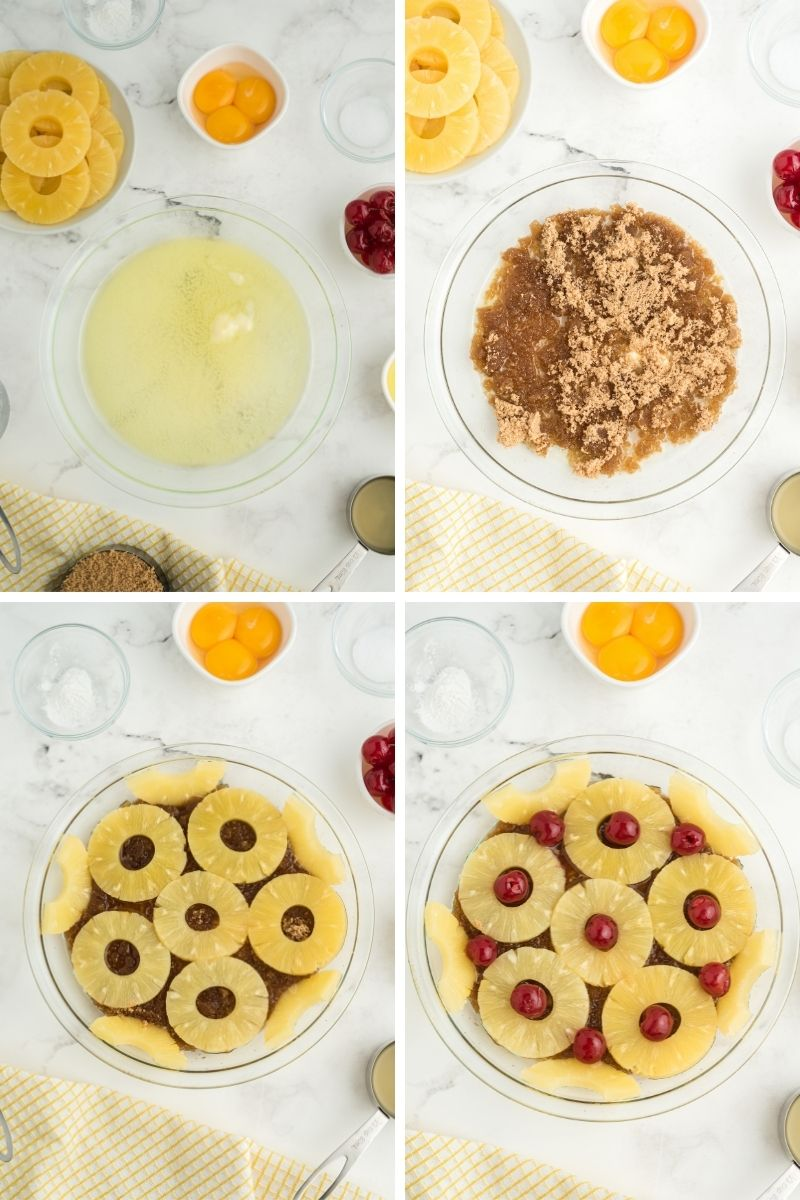 steps: melt butter, add brown sugar, add pineapple rings, then add a cherry in the middle of each pineapple ring