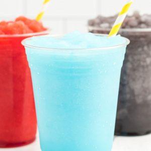 blue slushie with straw