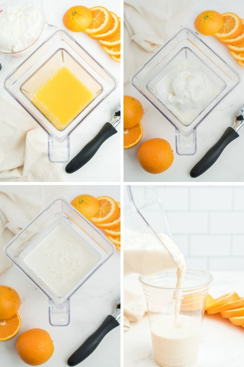 four process photos: blender with orange juice, then add ice cream, ice cream and orange juice mixed together, pouring ice cream mixture into clear plastic cup