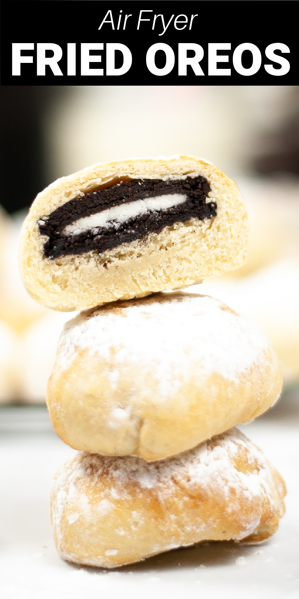 Air fried Oreos are an easy take on the classic fried Oreos you find at the fair! Oreos are dipped in a sweet batter then air fried and dusted with powdered sugar.