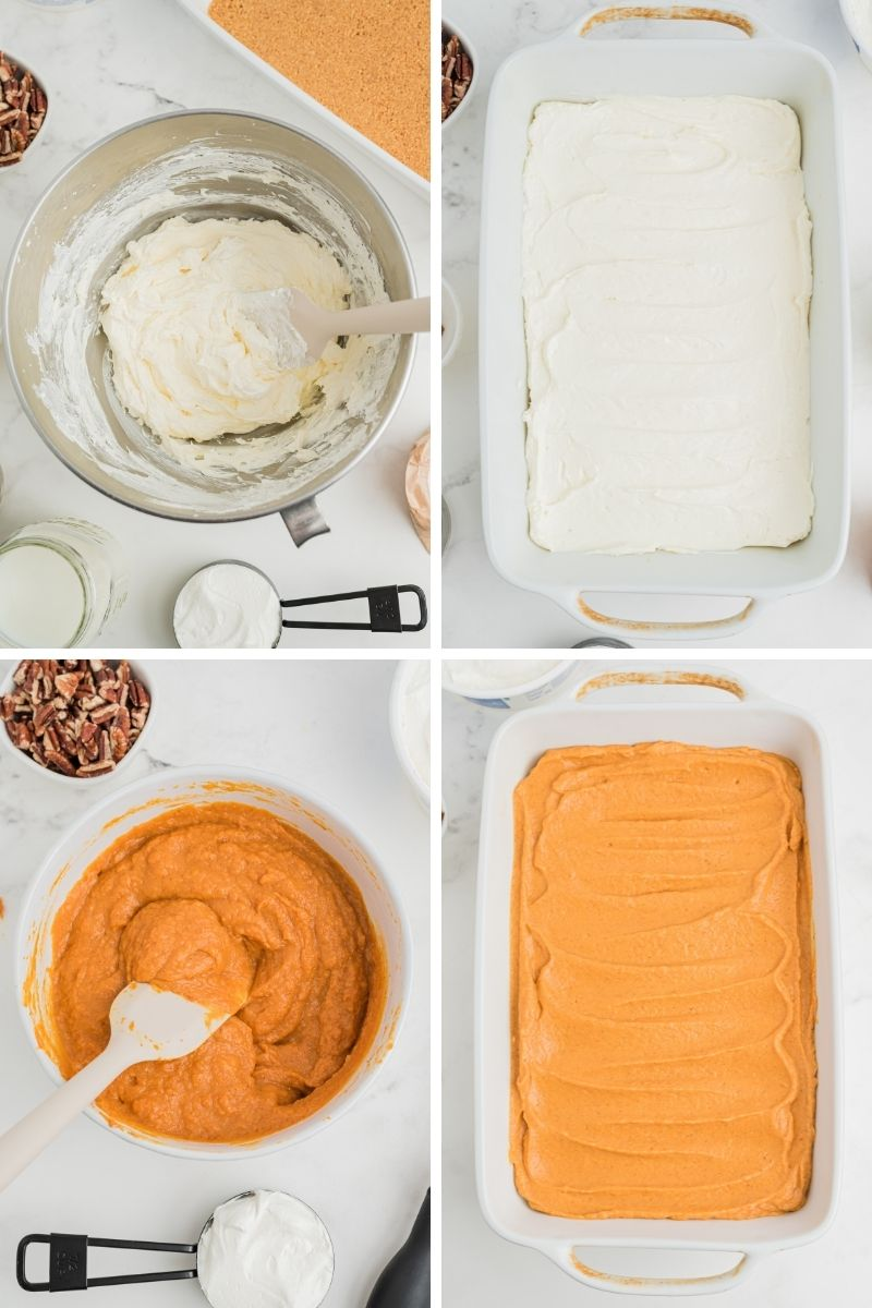 four photos: cream cheese mixture in mixing bowl; cream cheese mixture on bottom of white casserole dish; pumpkin puree in mixing bowl; pumpkin mixture spread evenly on top of white layer