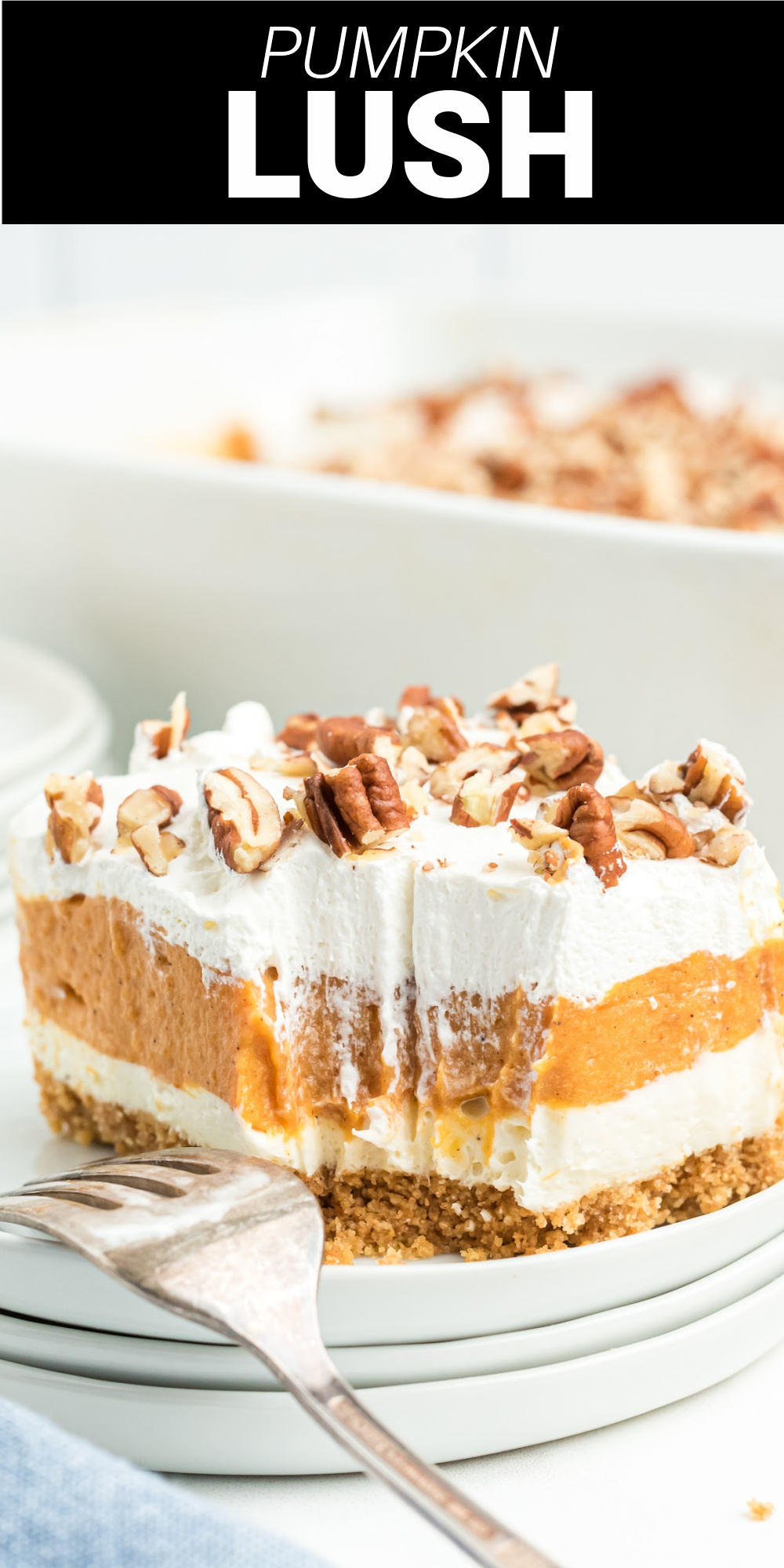Pumpkin lush is an easy dessert with layers of cream cheese and whipped topping with a creamy pumpkin layer in between all on top of a homemade graham cracker crust.
