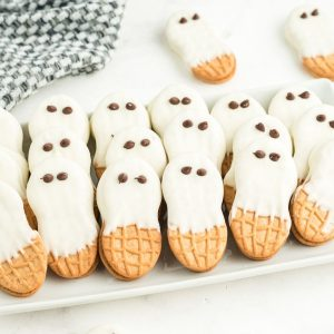 nutter butter ghosts on white plate
