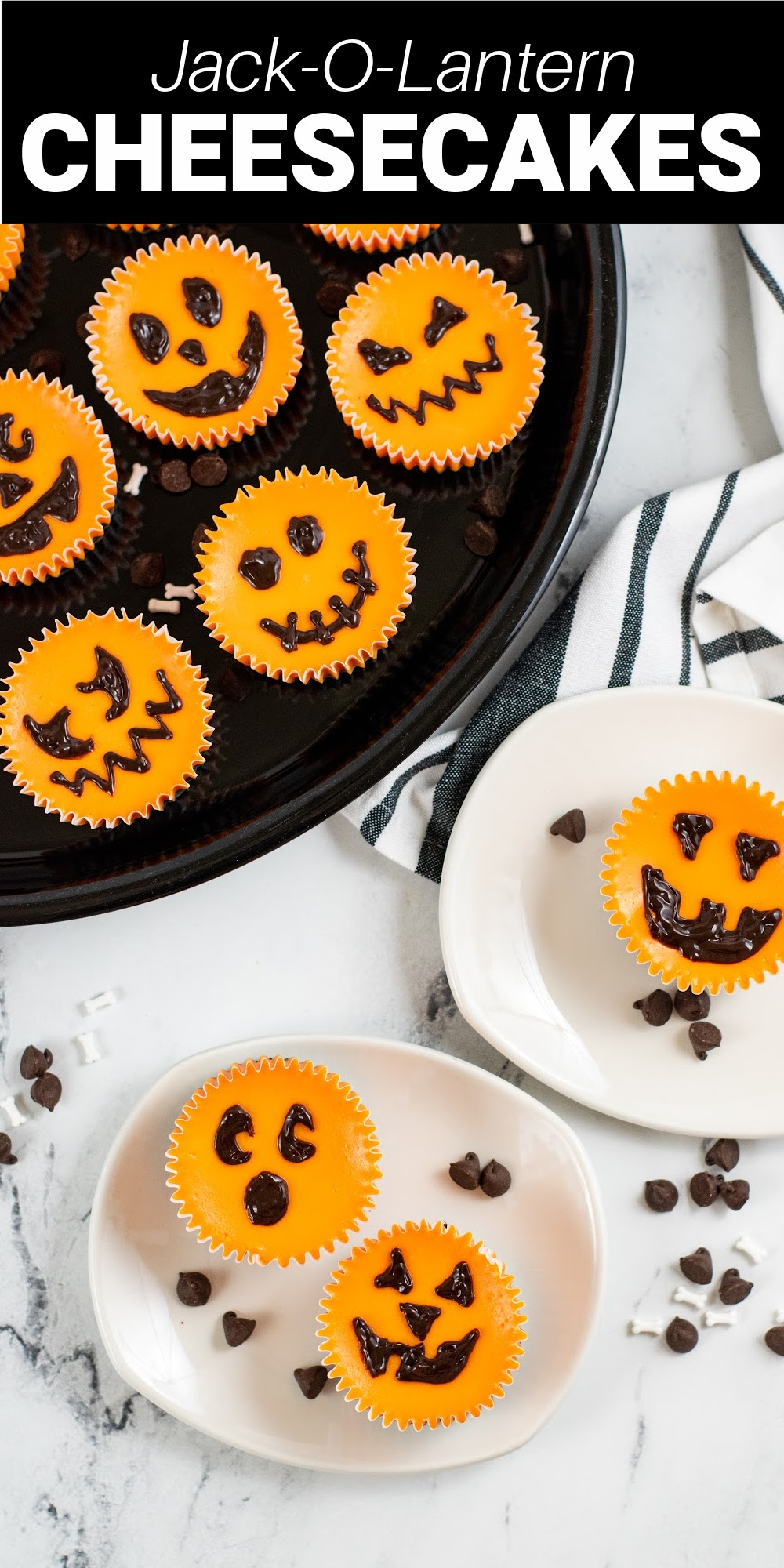Mini Jack-o-lantern cheesecakes are such a fun and sweet treat for Halloween. With a graham cracker crust and a creamy center, there is no way that you're going to be able to stop at just one!