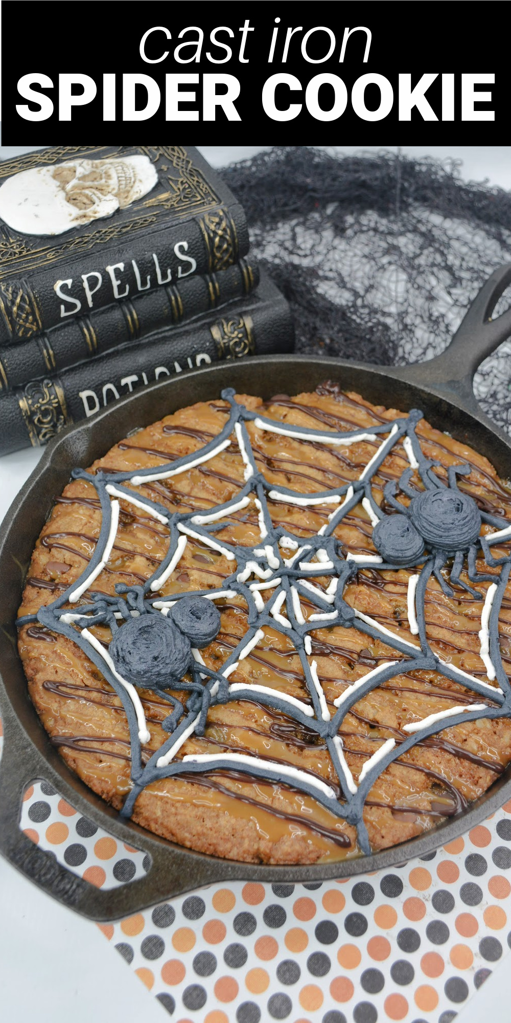 This big spider web cookie is a sweet chocolate chip oatmeal cookie with caramel and chocolate sauces drizzled on top and a cute buttercream spider. It's a fun Halloween treat.