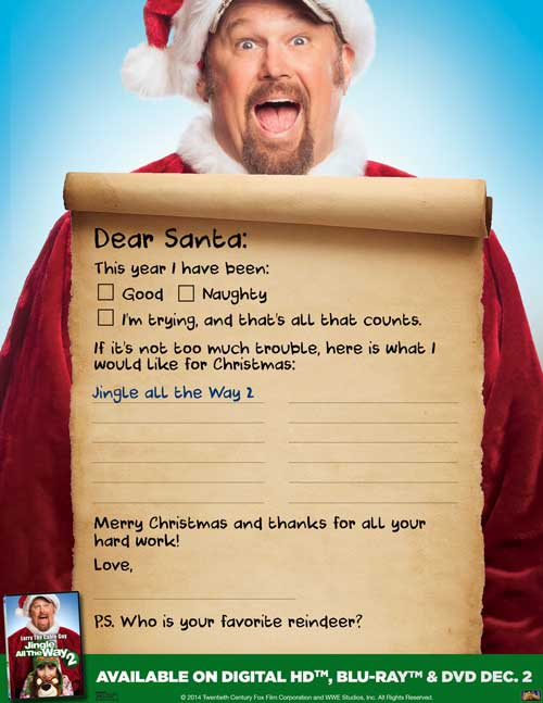 Jingle All The Way 2, letter to Santa