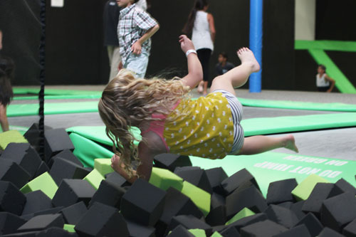 Leaping into Foam Pit at Get Air