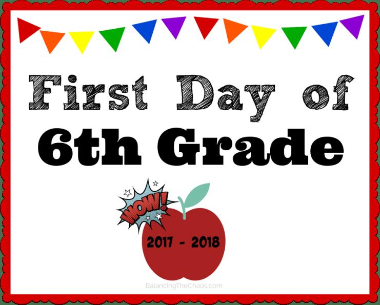 6th grade back to school printable 2017 2018