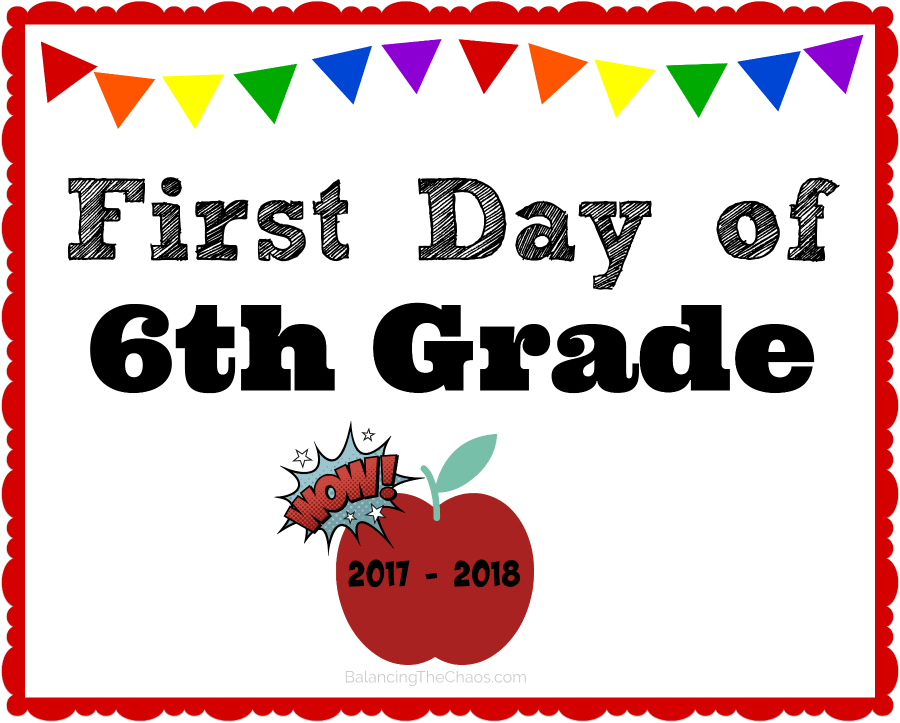 6th grade back to school printable 2017 2018