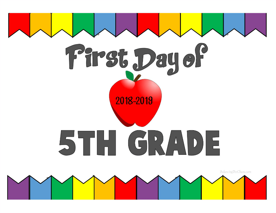 First Day of 5th Grade 2018 2019
