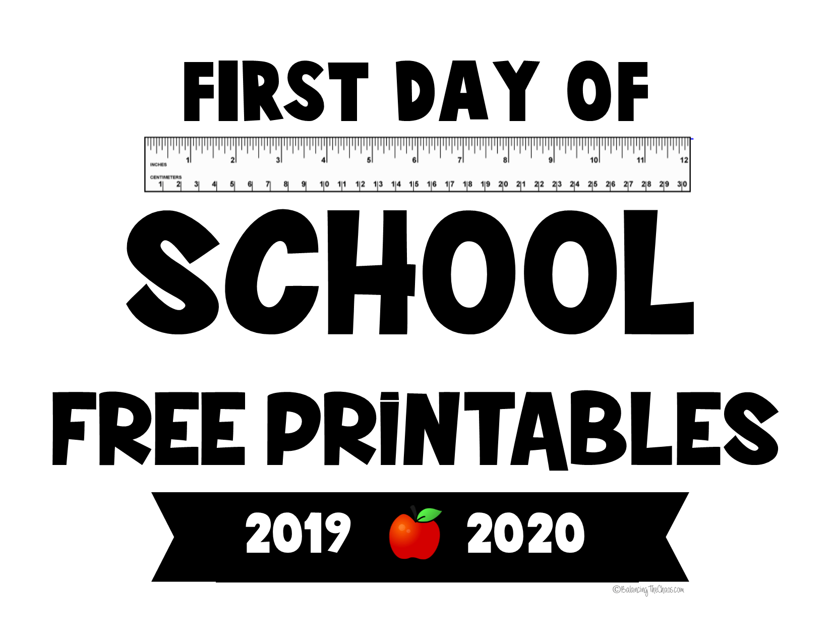 picture regarding First Day of 1st Grade Printable Sign called Absolutely free PRINTABLE: 2018 2019 Again In direction of College Symptoms - Balancing