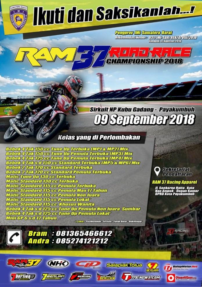 Ram 37 Road Race Championship 2018 Bakal Singgah di Kota Payakumbuh, Ajang Pemanasan Jelang SCP 2018