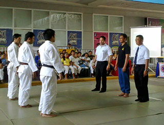 BMFI's Paul RA Paraguya leads the opening of the Mindanao Judo for Peace.