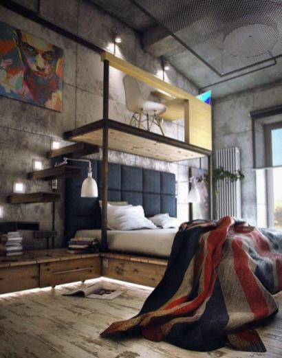 mens-bedroom-design-ideas-with-cool-flag-blanket