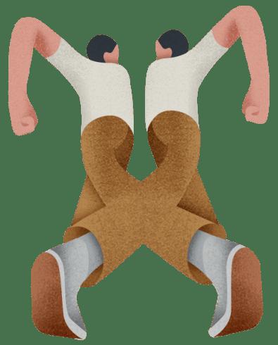 dois bonecos com pernas cruzaas nó