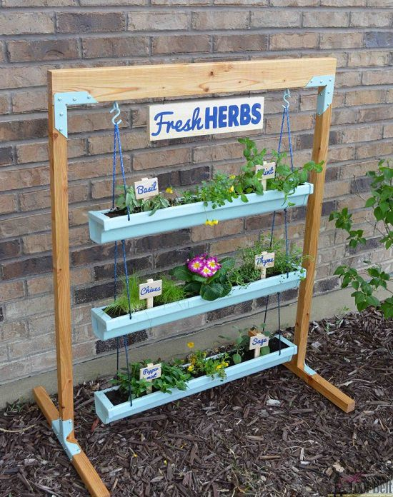 13 Vertical DIY Rain Gutter Garden Ideas For Small Spaces ... on Hanging Plant Stand Ideas  id=67093