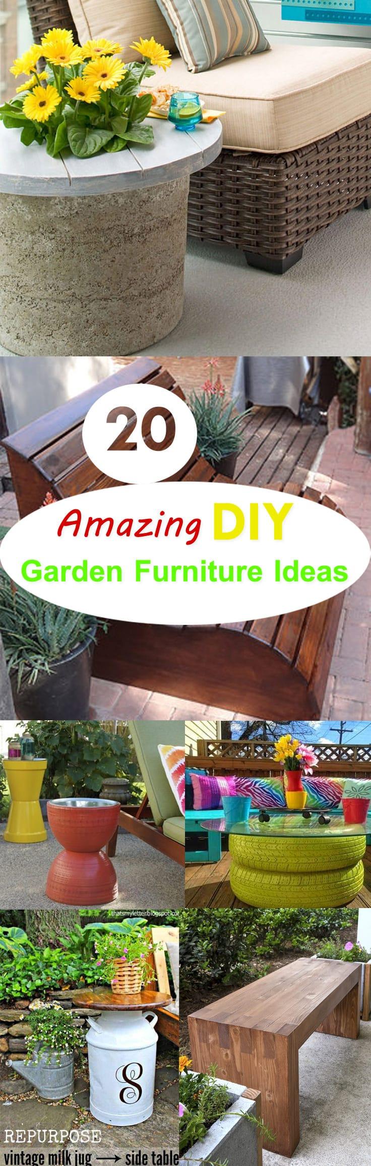 20 Amazing DIY Garden Furniture Ideas | DIY Patio ... on Diy Garden Patio Ideas id=25192
