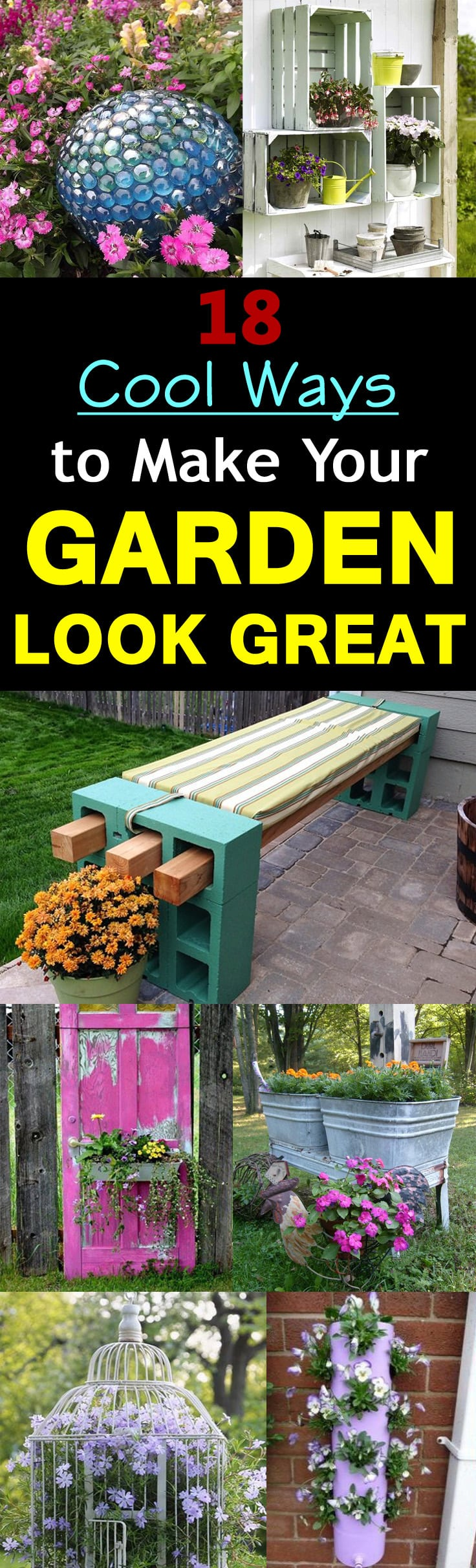 18 Cool DIY Ideas To Make Your Garden Look Great | Balcony ... on Cool Backyard Decorations id=11475