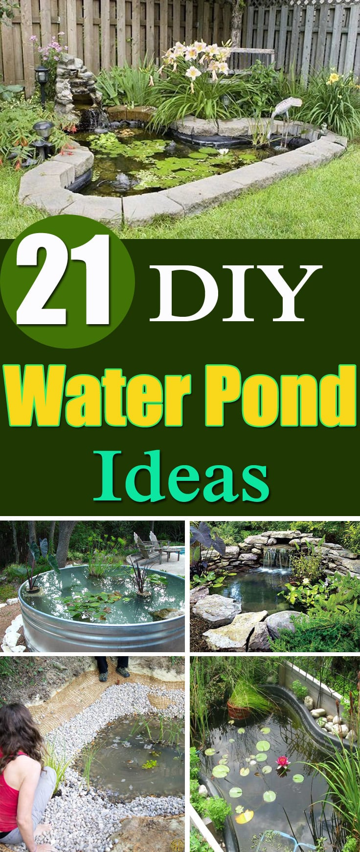 21 DIY Water Pond Ideas | DIY Water Gardens For Backyards ... on Small Backyard Pond  id=47777