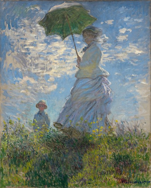 """Claude Monet's famous impressionism """"Woman with a parasol"""", painted in 1875. it is actually Monet's wife and child in the painting."""