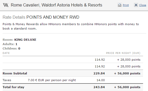 Hilton Waldorf Astoria Rome Cavalieri King Deluxe points and money rate details