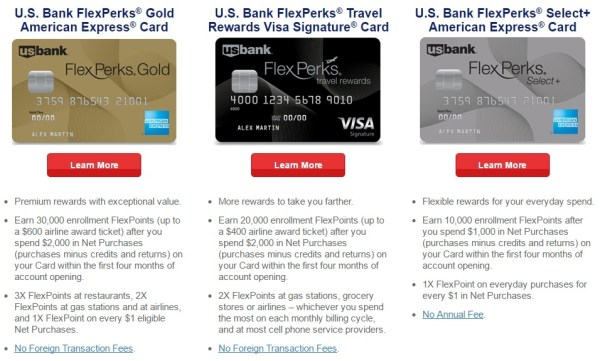 US Bank FlexPerks card options 2016 August