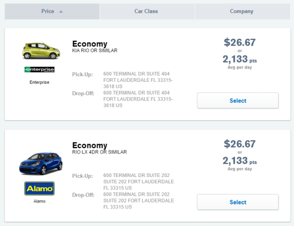 Chase Ultimate Rewards to rent a car - rental car options