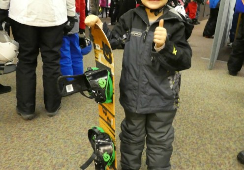Mammoth Mountain Timmy ready for first snowboard lesson 2000px