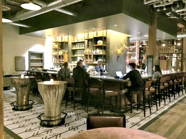 The Hewing Hotel lobby bar