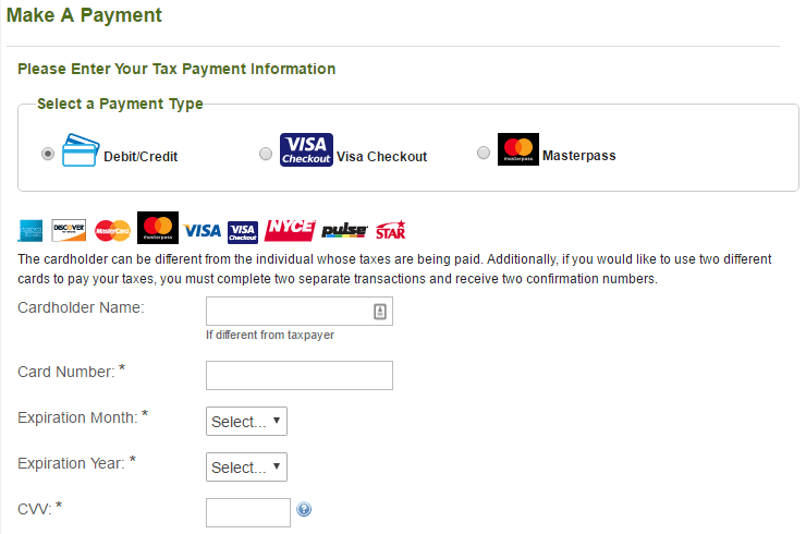 Pay1040.com form 1040 payment type pay taxes with credit card