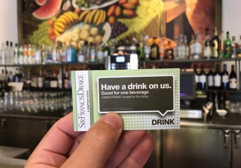 Kimpton Sir Francis Drake Kimpton Summer password 2017 drink ticket