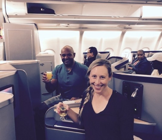American Airlines Business Class A330 CLT-BCN Derrick and wife