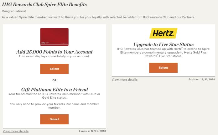 IHG Spire Elite awards surprise options
