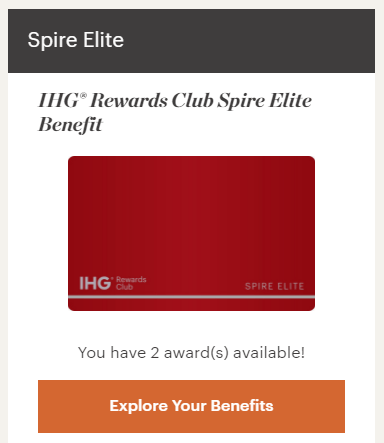 IHG Spire Elite awards surprise