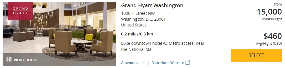 Grand Hyatt Washington DC 4th of July points