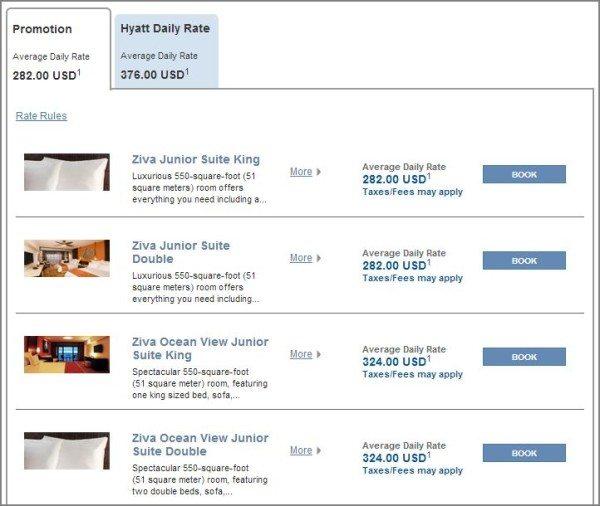 Hyatt Ziva Los Cabos room price options