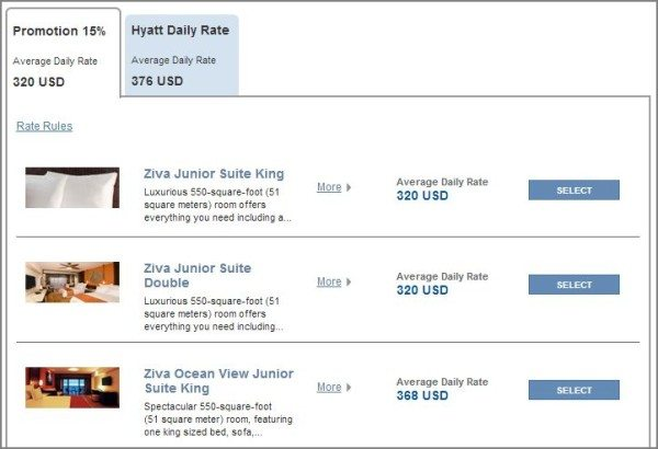 Hyatt Ziva Los Cabos room price options 2 people