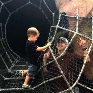 Timmy trapping Daddy at Honey I Shrunk the Kids Adventure playground