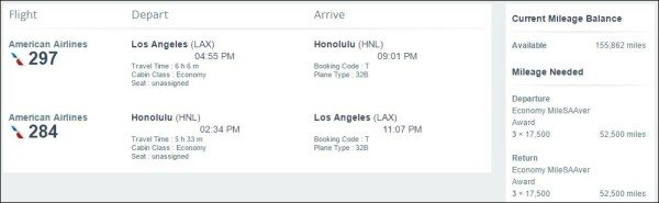 American Airlines LAX to HNL miles redemption