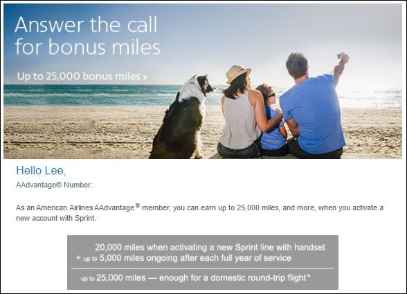American Airlines Sprint promotion