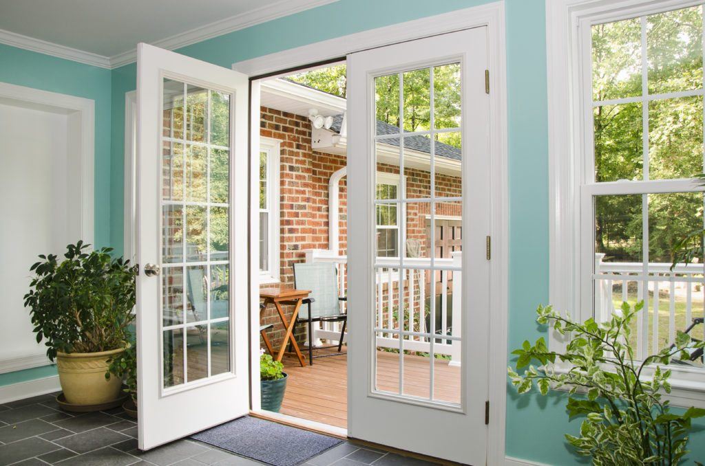 two-story home addition french doors