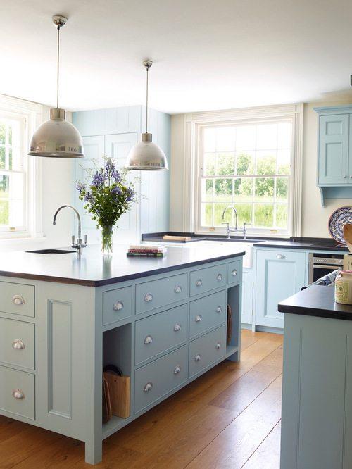 blue cabinets kitchen renovation