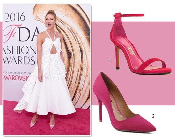A modelo Karlie Kloss, durante o CFDA, apostou nos sapatos com cristais (Foto: Getty Images/Divulgação)