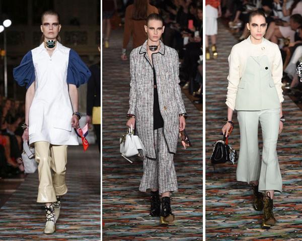 O desfile Cruise da Dior apresentou a calça flare cropped de várias maneiras (Foto: Imaxtree)