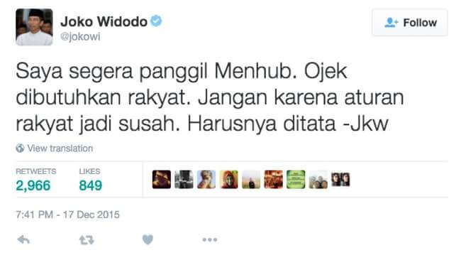 Twit Pak Jokowi tentang pelarangan ojek online