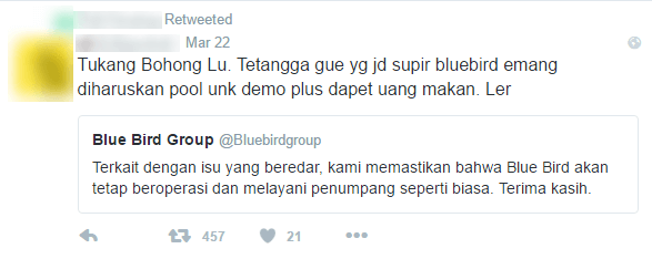 supir blue bird demo