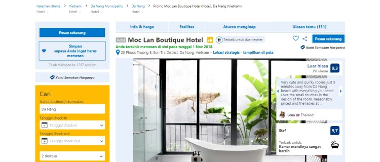 Konten Halaman Profil Hotel Booking.com